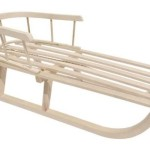 Holzschlitten mit Rückenlehne SC-1 Lehne Schlitten aus Holz Kinderschlitten NEU