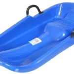 NoName Plastik Schlitten Kunststoff Rodel mit Bremse (blau)
