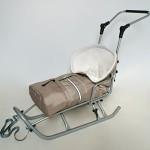Baby Kinder Schlitten mit Federn, Haltegriff und Lehne (abnehmbar) Babyschlitten + Fußsack grafit
