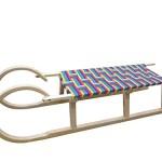 Holzschlitten - Hörnerrodel, 120cm lang, mit Zugband und Sitzbezug, hohe Qualität