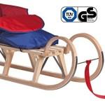 Impag® Hörnerschlitten mit Zuggurt und Lehne Rot inkl. Fußsack rot / blau 100 cm