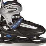 Nijdam Kinder Eishockeyschlittschuhe Iceskater Icehockey Schlittschuhe größenverstellbar, Schwarz-Silber-Blau, 34-37, 1015677