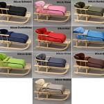Holzschlitten mit Rückenlehne mit Winterfußsack Schlitten Holz | 10 Farben (Rosa)